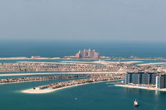 View on artificial island Palm Jumeirah and Atlant Royalty Free Stock Images