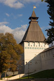 View of the artillery tower of the Astrakhan Kremlin from the city in autumn Royalty Free Stock Image