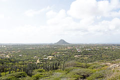 View on Aruba island in the Caribbean. With the Hooiberg Royalty Free Stock Photo