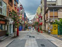 View of Asakusa street in tokyo in summer season. Asakusa, Tokyo, JAPAN - Aug. 09 2017: Street view of Asakusa district in tokyo japan at sunset dawn night time Stock Photo