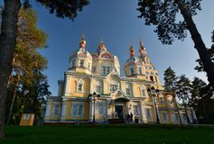 View of the Ascension Cathedral. Panfilov Park. Almaty. Kazakhstan stock photos