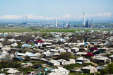View of the Asian industrial city. The Asian industrial city in mountains Stock Photos