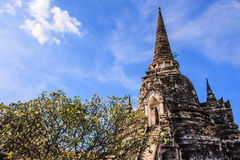 View of asian religious architecture ancient Pagodas in Wat Phra Sri Sanphet Historical Park, Ayuthaya province, Thailand Royalty Free Stock Photography