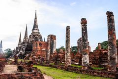 View of asian religious architecture ancient Pagodas in Wat Phra Sri Sanphet Historical Park, Ayuthaya province, Thailand Royalty Free Stock Image
