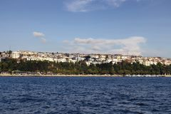 View of the Asian side of Istanbul from a boat. royalty free stock photo