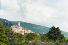 Overview of a part of the hermitage of Saint Francis in the city of Assisi in Italy royalty free stock photo
