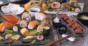 View of an assortment of Japanese food: sushi, nigiri, sashimi Stock Images
