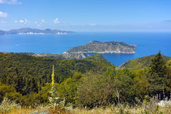 View of Assos village and beautiful sea bay, Kefalonia Stock Photos
