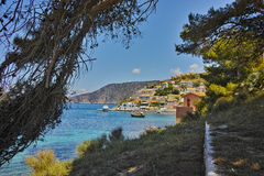 View of Assos village and beautiful sea bay, Kefalonia, Ionian islands Stock Image