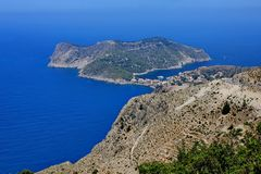 View of assos village at kefalonia island Royalty Free Stock Photos