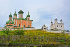 View of Assumption Cathedral and Church of All Saints in Goritsky Monastery of Dormition in Pereslavl-Zalessky, Russia stock images