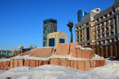 A view in Astana / Kazakhstan. In winter, with a sculpture Stock Photography