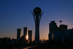 View of Astana modern city at sunset Royalty Free Stock Images