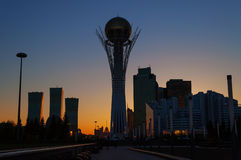 View of Astana modern city at sunset Stock Image