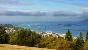 Astoria Bridge Oregon United States. View of Astoria and the Astoria–Megler Bridge from the top of Coxcomb Hill. Oregon United States stock photos