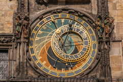 View of the astronomical clock. In Prague, this a a popular tourist attraction Stock Photography