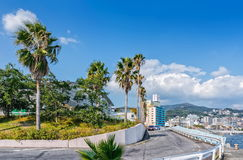 View on Atami Tamanoyu Hotel from Swimming Pool locality Stock Photos