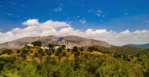 View of Ataviros Mountain and farms Stock Photo