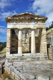 View of the Athenian Treasuryin Ancient Greek archaeological site of Delphi Royalty Free Stock Images