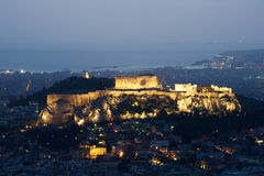 View of Athens and Acropolis from above Royalty Free Stock Photography