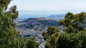 View of Athens City and the Acropolis From Mount Lycabettus, Greece royalty free stock photo