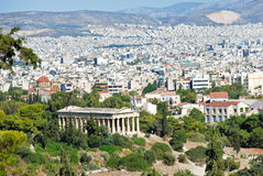 View of Athens city with Temple of Hephaestus Royalty Free Stock Photography