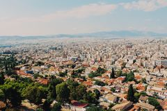 View of Athens cityspace from Acropolis in Athens, Greece. View of Athens cityspace from Acropolis in Greece stock photography