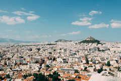 View of Athens cityspace from Acropolis in Athens, Greece. View of Athens cityspace from Acropolis in Greece royalty free stock photography