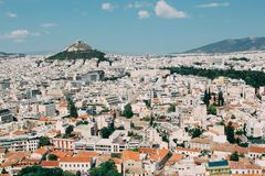 View of Athens cityspace from Acropolis in Athens, Greece. View of Athens cityspace from Acropolis in Greece royalty free stock image