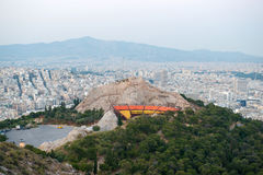 View of Athens and Lycabettus theater Royalty Free Stock Images