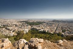 View of Athens from a mountain top Royalty Free Stock Image