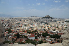 View of Athens and Mt. Lycabettus from the Acropolis stock photography