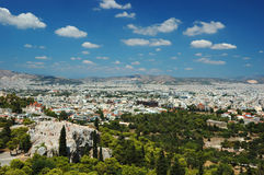 View of Athens roofs and Areipagus hill,Greece Royalty Free Stock Images