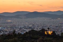View of Athens. Athens sunset captured from Philopappos Hill Royalty Free Stock Images