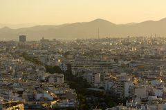 View of Athens at sunset in the haze, buildings, Greece ,city la. View of Athens at sunset in haze, buildings, cityscape, capital of Greece Royalty Free Stock Photography