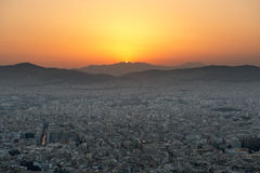 View of Athens at sunset Stock Images