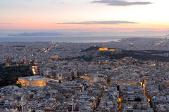View of Athens at sunset Stock Image