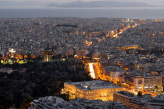 View of Athens at sunset Royalty Free Stock Photography