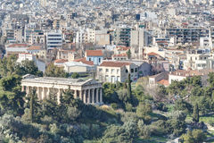 View of Athens with temple of Hephaistos in foregr. View of the centre of Athens as seen from Areopagus or Mars Hill with the temple of Hephaistos (also known as Royalty Free Stock Photo
