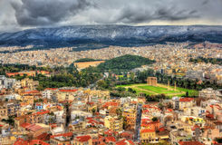 View of Athens with the Temple of Olympian Zeus. Aerial view of Athens with the Temple of Olympian Zeus Royalty Free Stock Photo