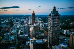 View from Atlanta, Georgia at night stock photography