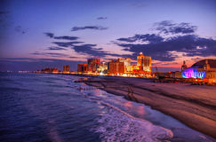 View on the Atlantic City casionos at night, USA Royalty Free Stock Image