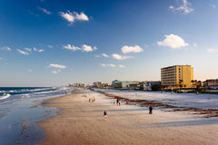 View of the Atlantic Ocean and the beach from the pier in Dayton Stock Photography