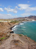 View of the Atlantic ocean and the city Las Playitas, Fuerteventura Stock Photos