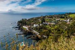 View on Atlantic Ocean coast near Ponta Delgada. In the beautif stock images