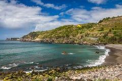 View on Atlantic Ocean coast near Ponta Delgada city on Sao Miguel island, Azores, Portugal royalty free stock photo