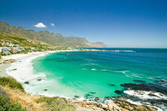 View of Atlantic Ocean and Hout Bay, Southern Cape Peninsula, outside of Cape Town, South Africa Royalty Free Stock Photos