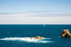 View of Atlantic ocean from Ile-de-Brehat island. Travel to France - view of Atlantic ocean from Ile-de-Brehat island in Cotes-d'Armor department of Brittany in Royalty Free Stock Image
