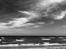 Atlantic sea at West Palm Beach. A view of the Atlantic sea at West Palm Beach in Florida, in black and white royalty free stock photo