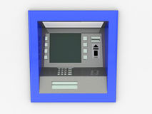 View of ATM in an isolated white background Stock Photo